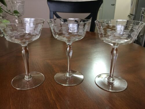 """THREE (3) VINTAGE CHAMPAGNE SHERBET GLASSES ETCHED FROSTED FLORAL PATTERN 5 3/4"""""""