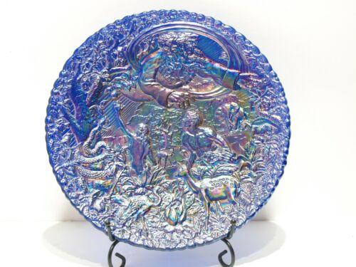 "Vintage Fenton Garden Of Eden Blue Carnival Glass Plate Adam & Eve Excellent 8"""