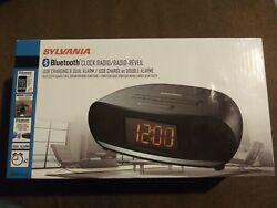 Sylvania Bluetooth Clock Radio USB Charging & Dual Alarm Speakerphone Function
