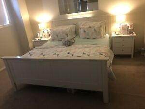 King Bed with Mattress and 2 side tables