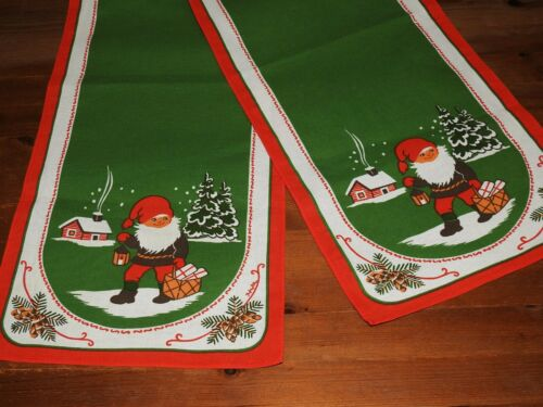 2 Swedish Christmas Vintage Table Runners Green, Brown & Red & White
