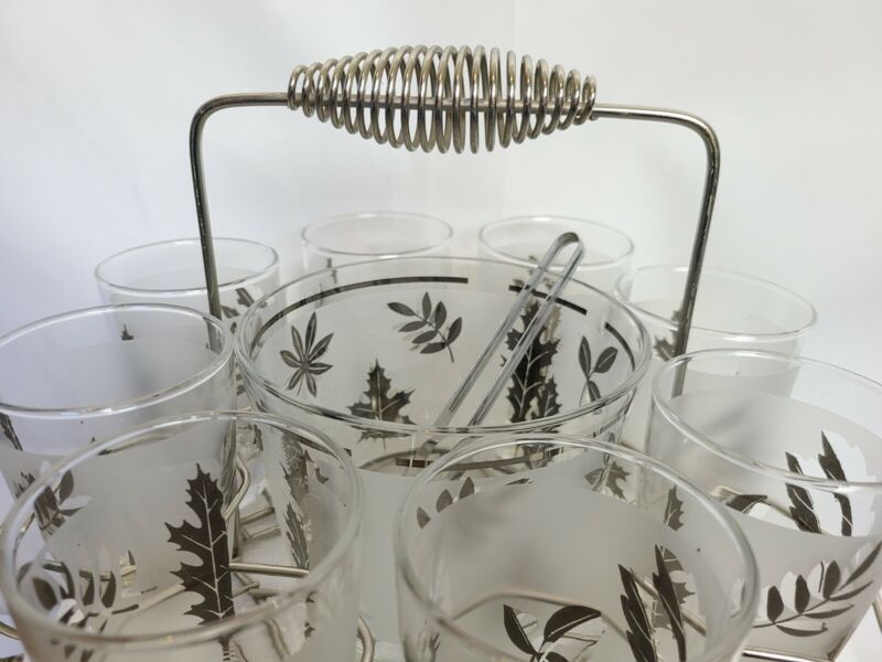 Libby Silver Leaf Glassware 8 Glasses & Ice Bucket Fall Leaves MCM