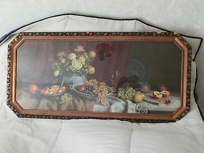 Jugendstil Bild Stillelben Obst 125 x 60 cm Holz - PRUNK Stuckrahmen