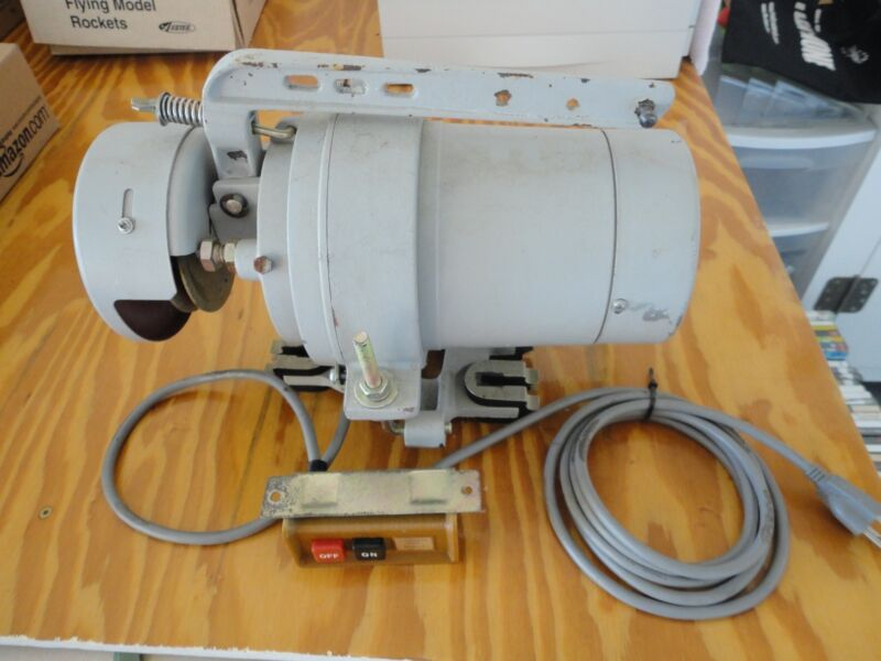 Atlas 1/2 HP 1 Phase 4 Pole Industrial Sewing Clutch Motor With Switch & Mount