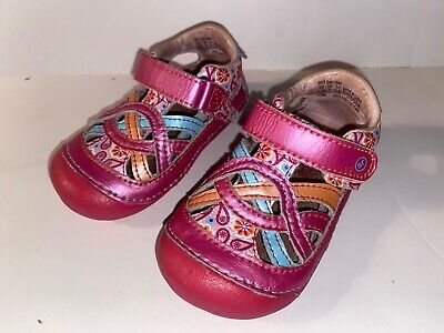 Stride Rite Toddler Girl Shoes Sandals Size 5.5 Mary Jane Paisley Pink Aqua Uma