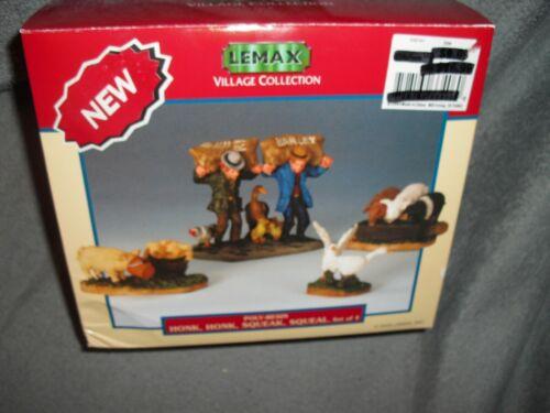 LEMAX Farm HARVEST village 4 set HONK Squeak SQUEAL Figurines NIB 2003 HALLOWEEN