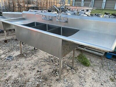 Heavy Duty 105.5 X 29.5 Commercial Stainless Steel 3 Compartment Wash Sink Nsf