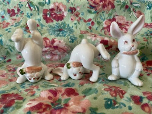 Vintage 1978 Fitz & Floyd Porcelain Figurines Bunnies Rabbit Carrot Easter Hare