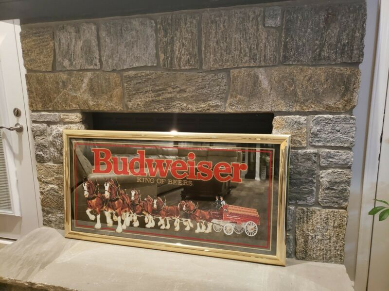 Vintage Budweiser Collectibles large bar mirror with Clydesdale horses 4