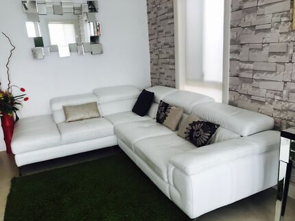 Pure  leather lounge with chaise