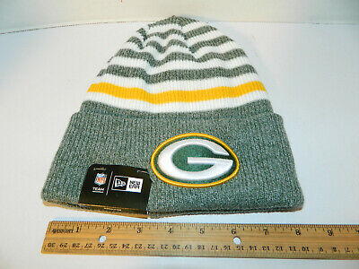 GREEN BAY PACKERS Knit Hat NFL New Era Winter striped cuffed Beanie Knit Cap NWT for sale  Liverpool