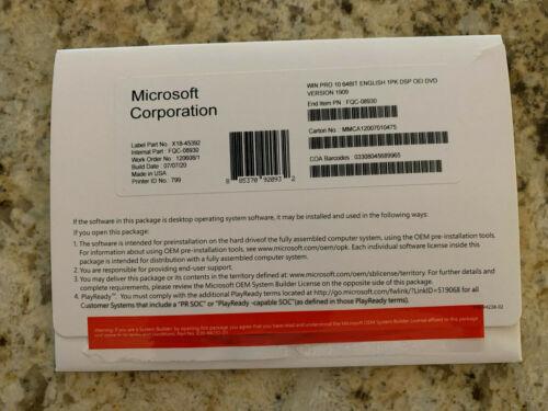 Microsoft Windows 10 Professional x64 bit full version dvd package + key