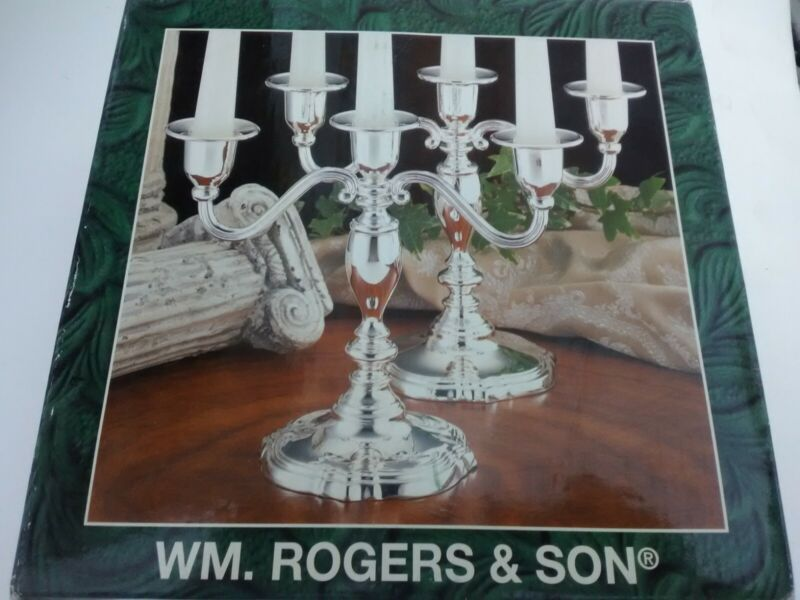 Wm Rogers and Son Silver Plated 3 Lite Candleabra 00116313 with Box