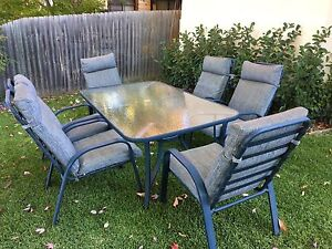 6 seater outdoor glass table and chair setting Camden Camden Area Preview