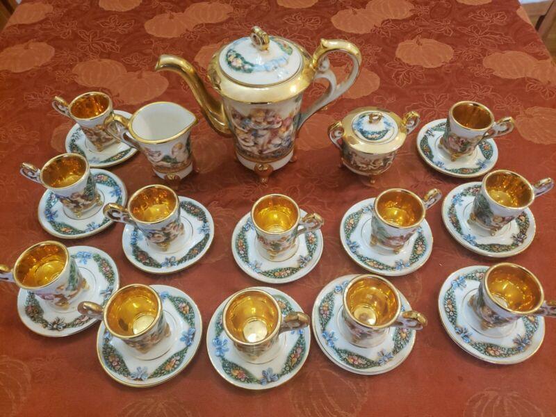 VINTAGE R CAPODIMONTE CHERUB TEA SET TEAPOT SERVICE FOR 12 GOLD GILT