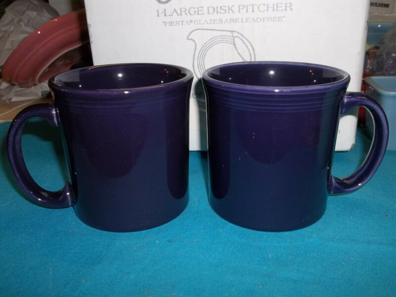 "Fiesta JAVA MUG Two (2) - 12 oz -. 3 3/4"" tall - New Never Used - PLUM"