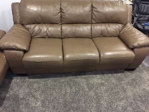 Leather couch & Oversized chair as well as Love seat