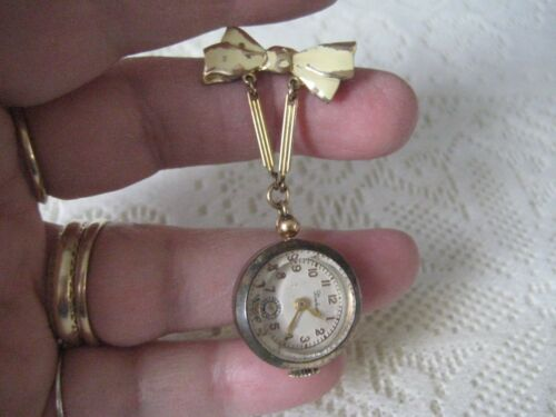 Boulevard Vintage  Wind Up Brooch Pin Watch Ribbon Topper