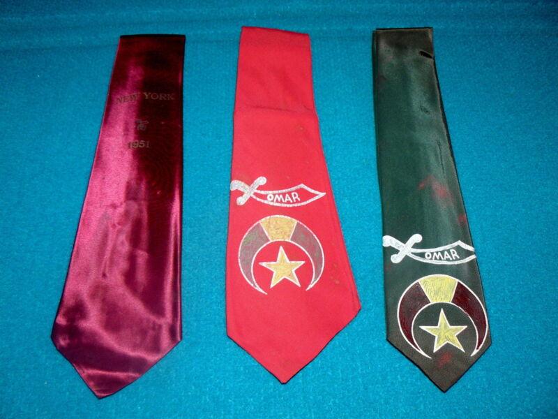"Vintage : SHRINERS ""Neck Tie"" LOT of 3 @ 1950s Masonic Lodge NEW YORK"