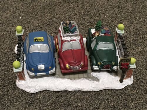 UNIQUE. 3 Cars Parked In Lot  Christmas Village Piece