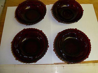 VINTAGE- AVON- CAPE COD COLLECTION - SET OF FOUR RUBY RED DESSERT/FRUIT BOWLS