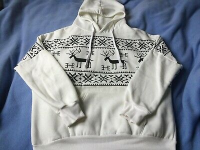 SHEIN ROMWE Christmas Hoodie Jumper Sweater White Reindeer Snowflake One Size