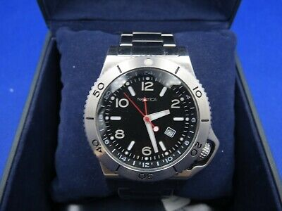 Nautica Men's Round Black Dial Watch A16550G BOX AND PAPERS STAINLESS STEEL