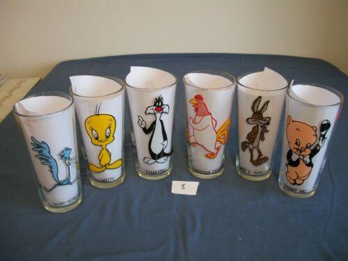 6 Warner Brothers Looney tunes, Pepsi Collector Series Glasses, 1973