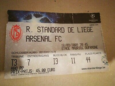 Ticket : Standard de Liège - Arsenal 2009 UEFA Champions League