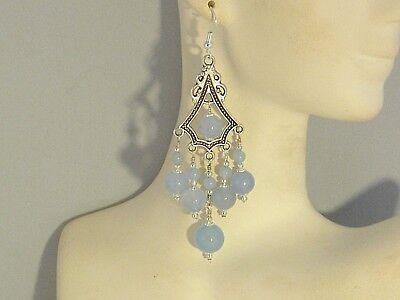 Gemstone Earrings - Aquamarine & 925 Sterling Silver - long chandeliers /dangles