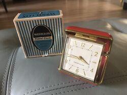 Vintage RED Westclox MINI Wind Up Travel Alarm Clock Unused in Original Box NICE