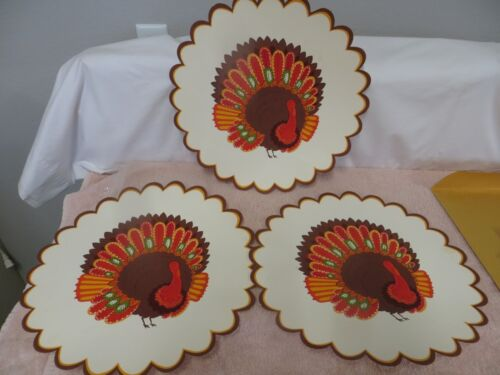 3 Vintage Die Cut Single Sided Thanksgiving Turkey Decoration / Placemats