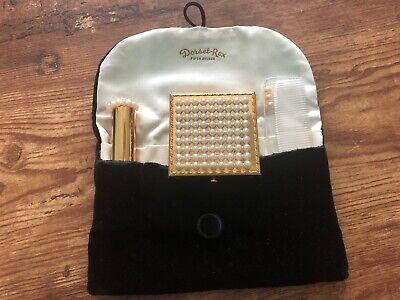 Vintage DORSET-REX Fifth Avenue Compact Brush Lipstick w/ Bag Gold Mirror Pearls