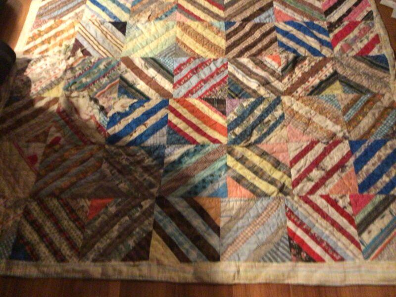 "Vintage Handmade Patchwork Quilt 75"" X 63"" Feed Sack Bag"
