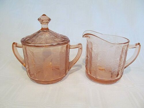 JEANETTE GLASS FLORAL PINK POINSETTIA SUGAR BOWL, LID AND CREAMER DEPRESSION