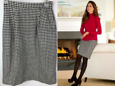 Vintage Brooks Brothers Skirt 4 Herringbone Wool Silk Blnd Black White Pencil bn Herringbone Silk Skirt