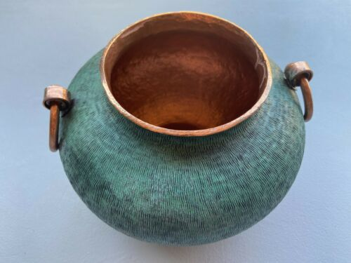 Copper Creations Oxidized Vase/Vessel Mexican Art Hammered Chiseled Turquoise