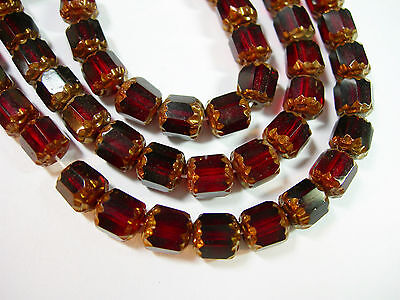 Garnet Red Czech Glass (25 Garnet Red and Bronze Cathedral Czech Glass 6mm beads  )