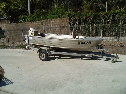 Trailer with 3.7M Stacer, Aluminium Dinghy with 9.9HP Motor Wangi Wangi Lake Macquarie Area Preview
