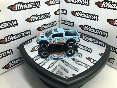 matchbox Ford F-150 Raptor Pickup Truck Gulf Oil - CUSTOM Beadloc Real Riders