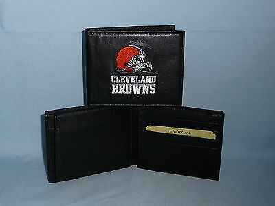 Rico Leather Embroidered Wallet - CLEVELAND BROWNS  embroidered  Leather BiFold Wallet    NEW   black