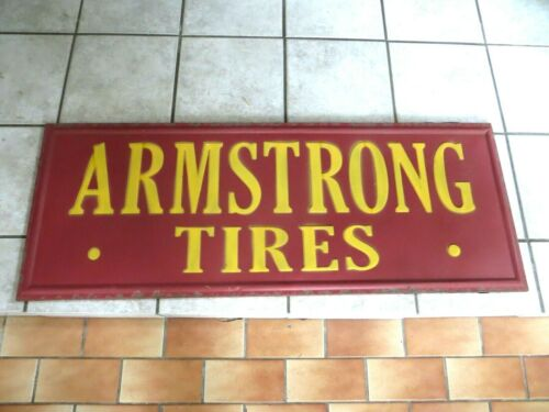 ARMSTRONG TIRES EMBOSSED TIRE STORE VINTAGE LARGE METAL SIGN