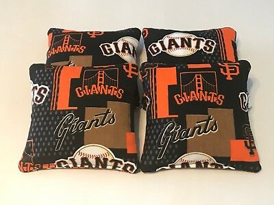 San Francisco Giants CORNHOLE BEAN BAGS SET OF 4 TOP QUALITY TOSS GAME San Francisco Giants Bean Bag