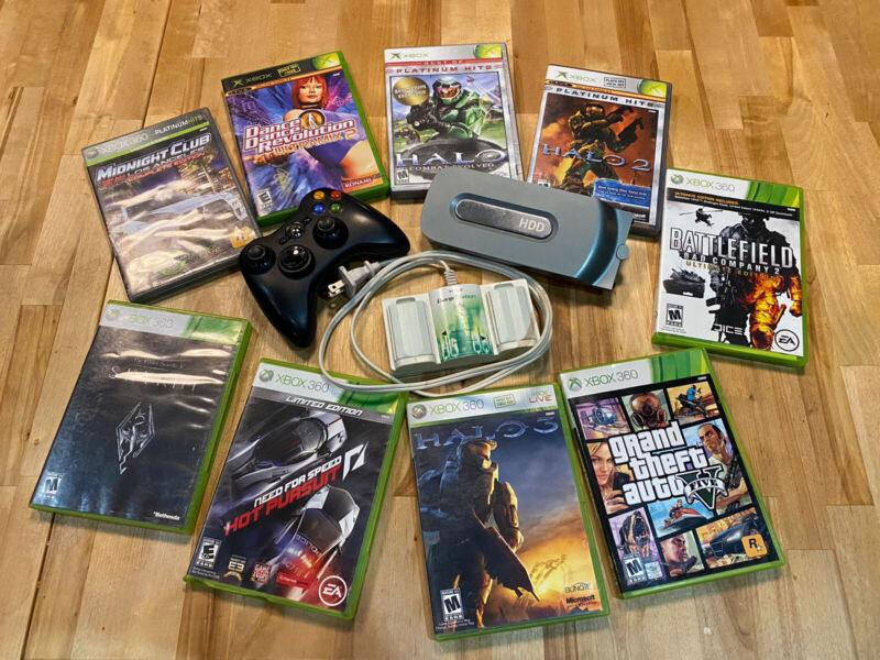 Lot XBox/XBox 360 Games Controller Grand Theft Auto 5 Halo 3 Skyrim Elder Scroll
