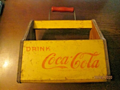 VINTAGE COCA COLA YELLOW 6 PACK BOTTLE WOODEN CARRIER WWII DRINK COCA COLA