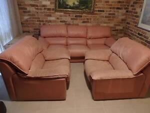 Leather lounge suite setting Mosman Mosman Area Preview