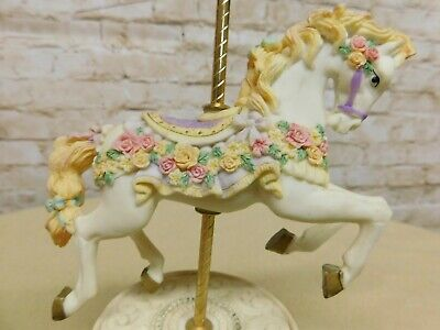 Bisque Porcelain Horse Carousel Music Box rotates plays a lovely tune