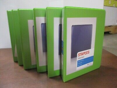 6 Pack Staples 1 Round Ring Mini View Binder Chartreuse 26323 5.5 X 8.5