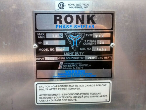 Ronk Electrical Phase Shifter Converter 5HP In 240V 1 Phase / Out 240V 3 Phase