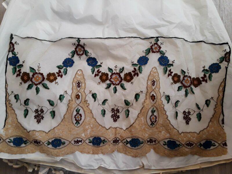 Vintage Victorian Edwardian/Teens Era Large Lace Net Embroidered Panel #1